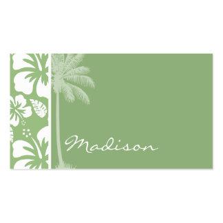 Laurel Green Hawaiian Tropical Hibiscus Palm Business Card Templates