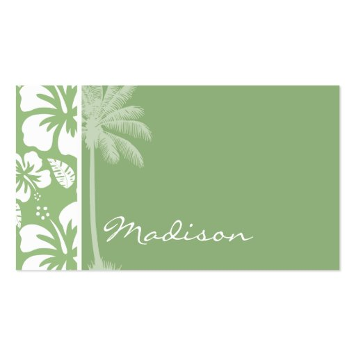 Laurel Green Hawaiian Tropical Hibiscus; Palm Business Card Templates