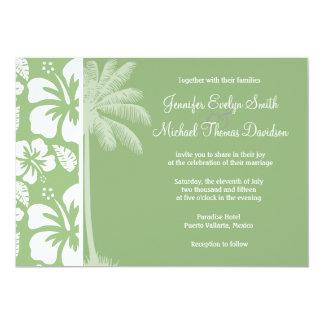 Laurel Green Hawaiian Tropical Hibiscus; Palm Invitation