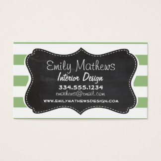 Laurel Green Horizontal Stripes; Chalkboard look Business Card