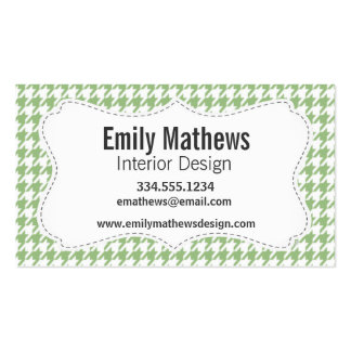 Laurel Green Houndstooth Business Card Template