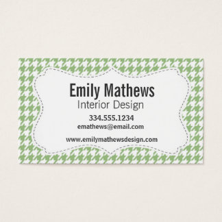 Laurel Green Houndstooth Business Card