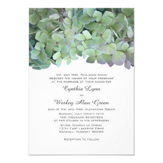 "Laurel Green Hydrangea Wedding Traditional Invites 5"" X 7"" Invitation Card"
