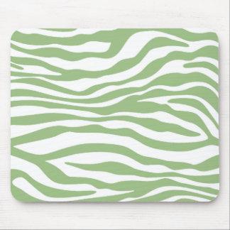 Laurel Green Zebra Stripes Animal Print Mouse Pad