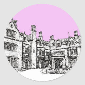 Laurel Hall building in pink Classic Round Sticker