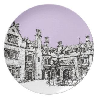 Laurel Hall building lilac lavender Melamine Plate