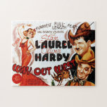 "Laurel &amp; Hardy Classic Film Poster Jigsaw Puzzle<br><div class=""desc"">The image on this jigsaw puzzle is a replica of a poster advertising the 1937 Laurel and Hardy feature &quot;Way Out West&quot;,  which remains one of the most popular films among many of the comedy duo&#39;s fans.</div>"
