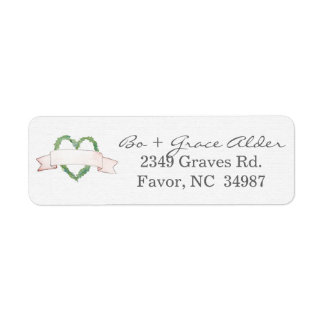 Laurel Heart Wreath Wedding Label