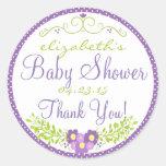 Laurel-Lavender Baby Shower Classic Round Sticker