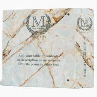 Laurel Leaf Classic Monogram Beautiful Marble Binder