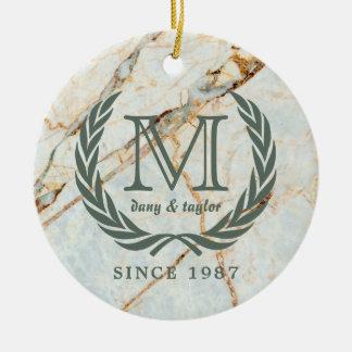 Laurel Leaf Classic Monogram Beautiful Marble Ceramic Ornament