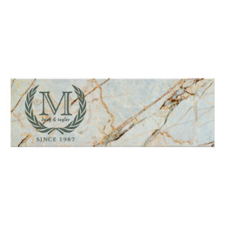 Laurel Leaf Classic Monogram Beautiful Marble Poster