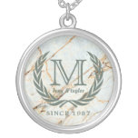 Laurel Leaf Classic Monogram Beautiful Marble Silver Plated Necklace