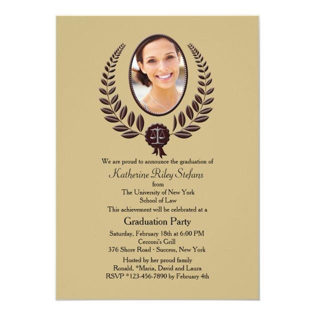 Laurel Leaf Photo Graduation Invitation