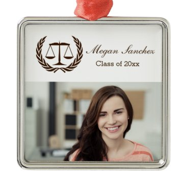 Beach Themed Laurel Leave Wreath   Scales of Justice Law School Metal Ornament