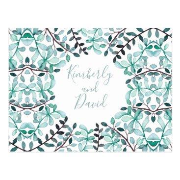 Laurel Leaves Monogram Wedding rsvp postcard