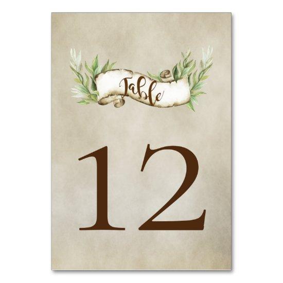 Laurel Leaves Rustic Scroll Banner Table Number