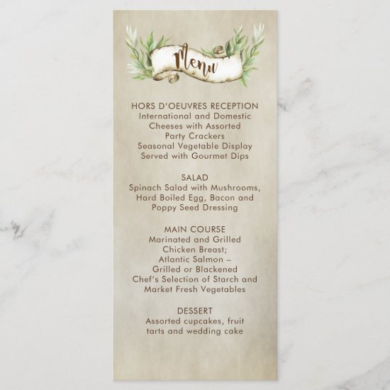 Laurel Leaves Rustic Scroll Banner Wedding Menu