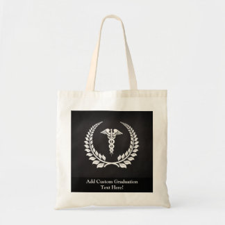 Laurel médico del caduceo bolsas de mano