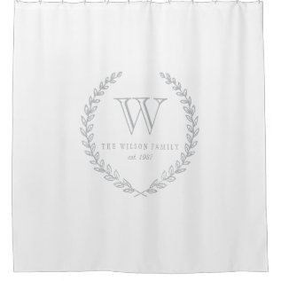 Laurel Monogram Shower Curtain at Zazzle