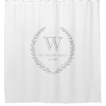 origamiprints Laurel Monogram Shower Curtain