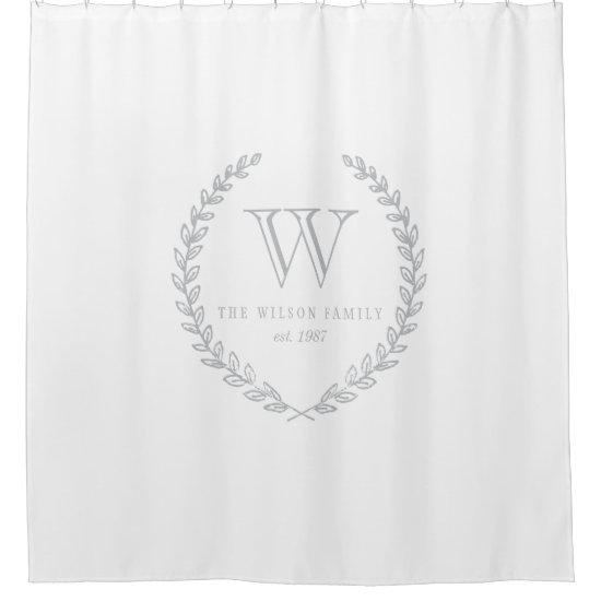 Laurel Monogram Shower Curtain