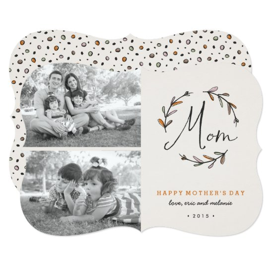Laurel Mother's Day 2-Photo Card - Tangerine