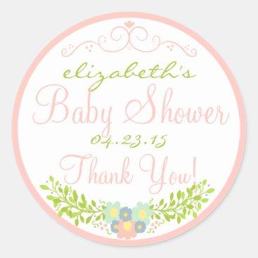 Toddler & Baby themed Laurel-Peach Baby Shower Classic Round Sticker