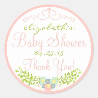 Laurel-Peach Baby Shower Classic Round Sticker