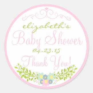 Laurel-Pink Baby Shower Classic Round Sticker