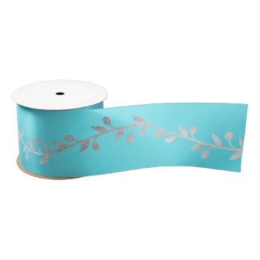 Beach Themed Laurel Silver Turquoise Blue Ocean Satin Ribbon