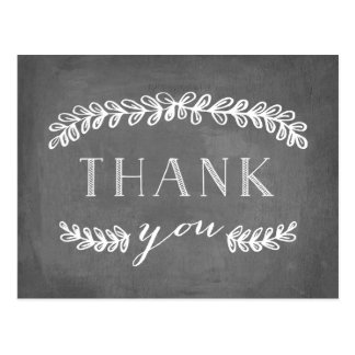 Laurel White Flat Thank You Post Card Chalkboard