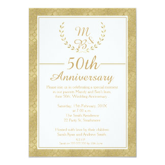 Laurel Wreath 50th Wedding Anniversary Invitation