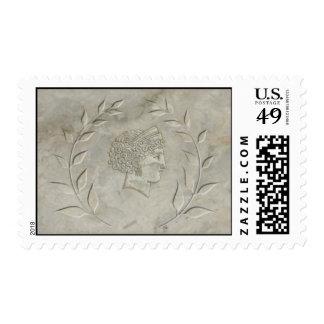 Laurel wreath and Goddess Juno stamp