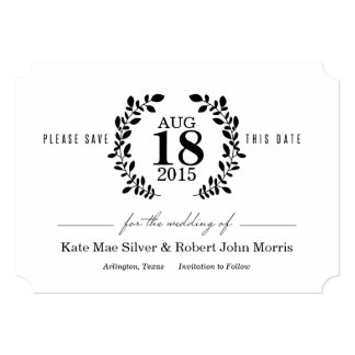 Laurel Wreath Black & White Nonphoto Save the Date Card