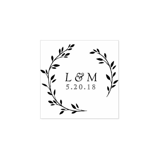 Laurel Wreath Custom Save the Date Stamp