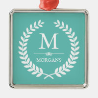 Laurel Wreath Decor Pastel Teal Family Monogram Metal Ornament