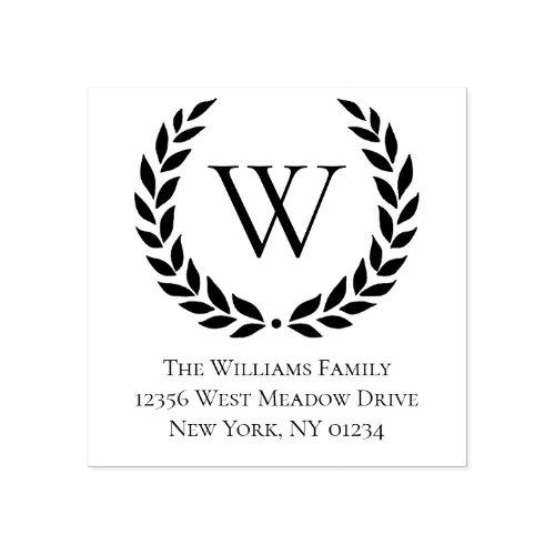 Laurel Wreath Family Name Monogram  Return Address Rubber Stamp