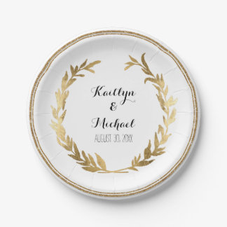 Laurel Wreath Garland Foliage Circle Faux Gold Paper Plate