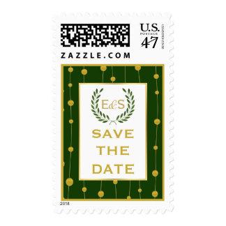 Laurel wreath gold foil wedding Save the Date Postage Stamp