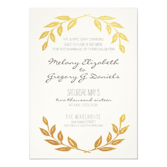 Laurel Wreath Gold Leaf Wedding Invitation