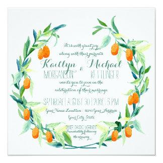 Laurel Wreath Kumquat Leaf Branch Modern Square Card