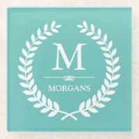 Laurel Wreath Monogram Chic Teal Blue Glass Coaster