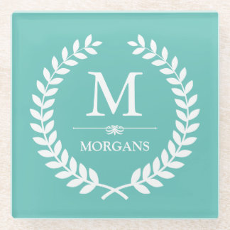 Laurel Wreath Monogram Chic Teal Blue Glass Coaster