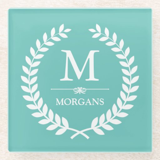 Laurel Wreath Monogram Chic Teal Blue