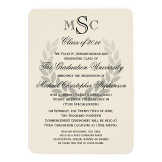Laurel Wreath Monogram Classic College Graduation 5x7 Paper Invitation Card