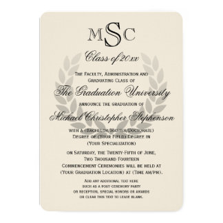 Laurel Wreath Monogram Classic College Graduation Card