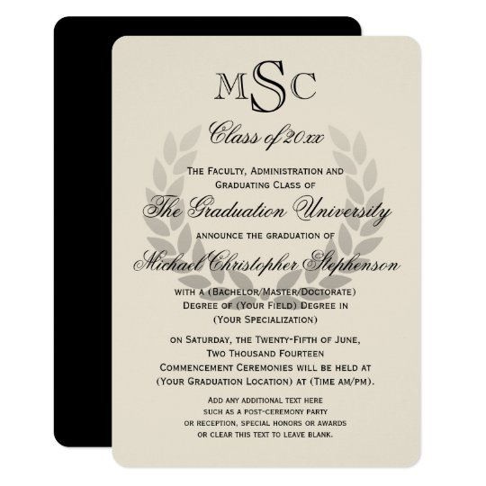 Laurel wreath monogram classic college graduation invitation laurel wreath monogram classic college graduation invitation filmwisefo