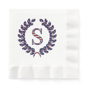 Laurel Wreath Monogram S Stars and Stripes USA Napkin