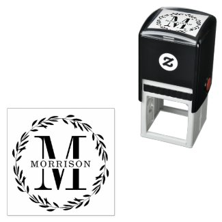 Laurel Wreath Monogram Self-inking Stamp